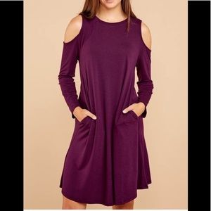 NWT Dark Purple Cold Shoulder Knit Dress